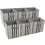 Sorbus Foldable Storage Cube Basket Bin, Vertical Stripe Line Pattern (6 Pack, Black)