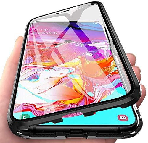 CHIMUCO Funda para Samsung Galaxy S21 Ultra 5G / 4G Carcasa, Adsorción Magnética Parachoques de Metal con 360 Grados Protección Case Transparente Ambos Lados Vidrio Templado Cubierta Cover, Negro