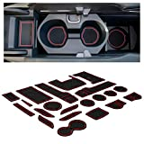 CupHolderHero for Honda Civic Accessories 2016-2020 Premium Custom Interior Non-Slip Anti Dust Cup Holder Inserts, Center Console Liner Mats, Door Pocket Liners 21-pc Set (Hatchback) (Red Trim)
