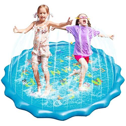 Fostoy Splash Pad, Piscina de Chapoteo al Aire Libre de 68 Pulgadas de Diámetro y Colchoneta Splash Play, Patio Trasero de Verano, Juguetes Inflables de Agua para Niños, Bebés y Niños Pequeños
