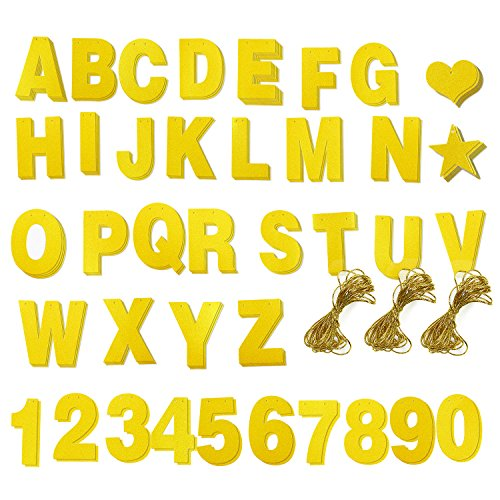 Custom Banner Kit - 121pcs Banner Letters with Numbers and Symbols, Gold Glitter DIY Letter Banner for Birthday, Wedding, Party Decoration