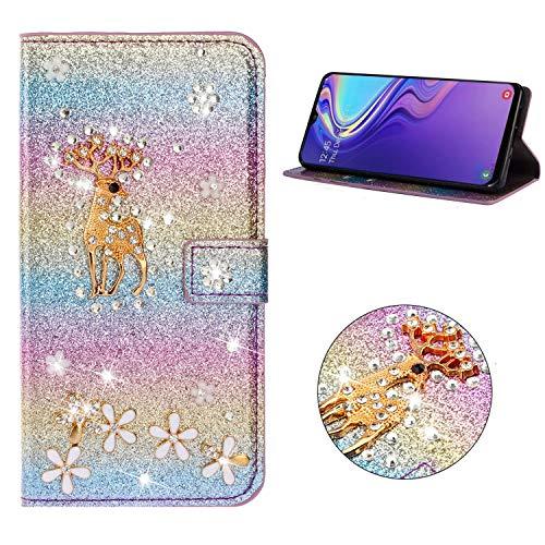 Miagon Hülle Glitzer für Samsung Galaxy A8 2018,Luxus Diamant Strass Hirsch PU Leder Handyhülle Ständer Funktion Schutzhülle Brieftasche Cover,Regenbogen Blau