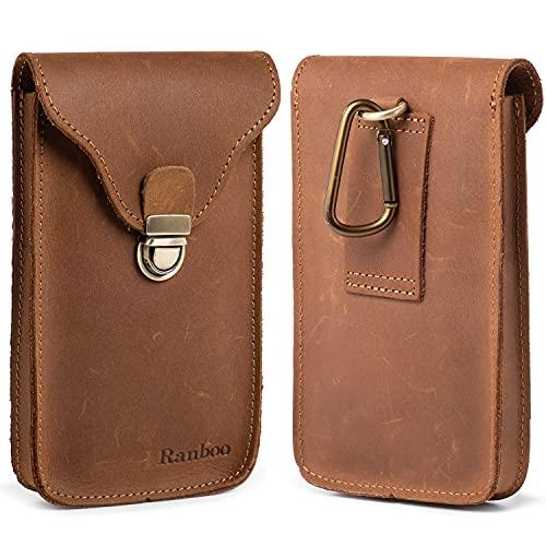 Ranboo iPhone 12 Pro Max Holster, echtes Leder, iPhone 11 Pro Max, Xs Max, 7 Plus, 8 Plus Gürteltasche mit Gürtelclip/Schlaufe Handy-Tragetasche, kompatibel mit großen Handys mit Hülle (braun)