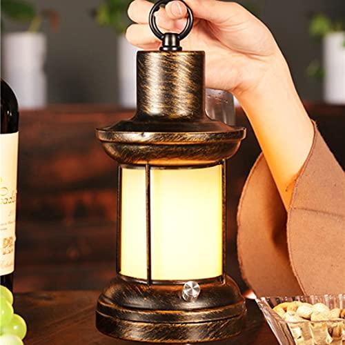LANMOU Lámpara de Mesa Inalámbrica Regulable Linterna LED Retro Luz Nocturna Restaurante Lámpara de Cámping Recargable Farol Vintage Luces de Llama Con Cargador, 3 Modos de Iluminación, Bronze