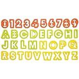 タイガークラウン クッキー型 オレンジ イエロー グリーン 47×38×12mm クッキー抜アルファベット&数字 ポリプロピレン 抜型 文字 751 36個入