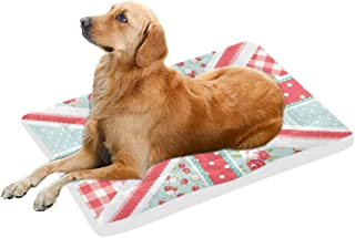 InterestPrint Colorful Patchwork of Flowers Polka Dots and Plaid Reusable Dog Bed Mat Soft Washable Pet Pad Bed for Dogs & Cats, 42x26 Inch