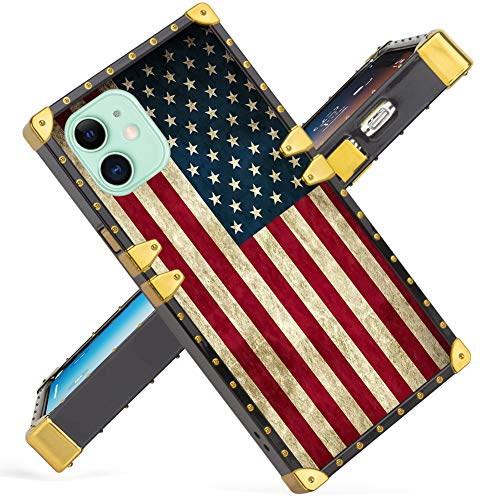 Fiyart iPhone 11 6.1 Inch Case Luxury American Flag Square Soft TPU and Hard PC Back Stylish Retro Cover 2019 Release