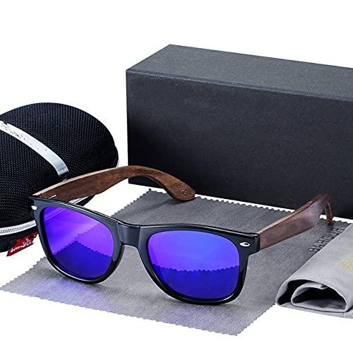 Gafas de Sol de Nogal Negro Gafas de Sol polarizadas de Madera Gafas de Hombre Gafas Protectoras UV400 Caja Original de Madera