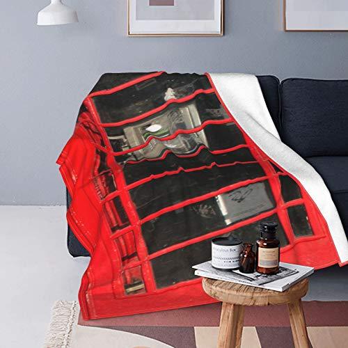 Plüsch Decke Werfen für Alle Jahreszeiten Sanft Leicht Warm,London Red Phone Booth isoliert auf Weiß,Gemütlich Bettdecke Reisebett Couch Quilt,50' X 60'