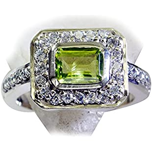 Jewelryonclick Real Peridot Sterling Silver Wedding Rings for Women Halo Styel Fashion Gemstone Sizes L:Greatestmixtapes