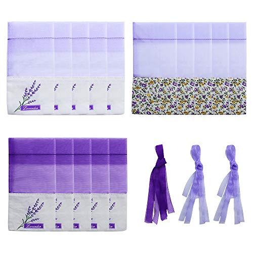 SPTwj 15 Stücke Lavendel Beutel Leere Lila Duftsäckchen Leere Beutel Blumendruck Lavendelsäckchen 7x 15 cm