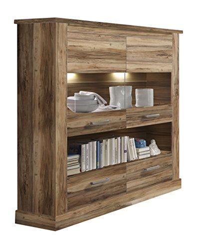 trendteam Wohnzimmer Highboard Schrank mit Vitrine  Montreal, 146 x 151 x 43 cm in Nussbaum Satin Dekor ohne Beleuchtung