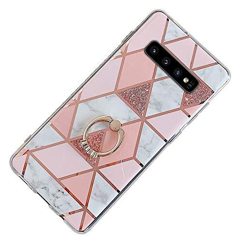 Herbests Kompatibel mit Samsung Galaxy S10e Hülle Bunt Marmor Muster TPU Silikon Handyhülle Glänzend Bling Glitzer Diamant Strass Ring Halter Ständer Crystal Case Tasche Schutzhülle,Rosa