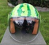 AZW@ Moda personalità Anguria Casco Moto Elettrica Car Hipster Casco Carino Creativo Casco Hard Hat Selvaggio, Casco Locomotivo, Casco Fuoristrada, Attrezzatura da Equitazione, Attrezzatura,Verde,L