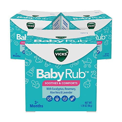 Vicks BabyRub, Chest Rub Ointment with Soothing Aloe, Eucalyptus, Lavender, and Rosemary, from The Makers of VapoRub, 1.76 oz each (Pack of 3)