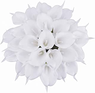 Bomarolan Calla Lily Artificial Flowers Real Touch Bridal Wedding Bouquet Latexs for Birthday Party Home Décor Pack of 24 (White)