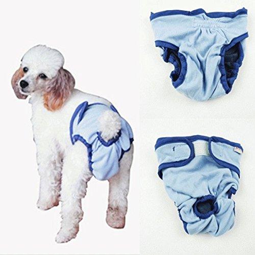 nikka(日華)犬用 サニタリーパンツ マナーパンツ 生理パンツ おむつカバー 女の子用 発情期用 メス 生理用 犬服 小型犬 中型犬 大型犬 ブルー Lサイズ