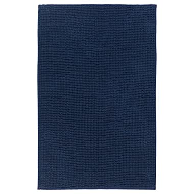 IKEA TOFTBO Microfiber Bath Mat - 35  x 24  | 1.25  Thick - Ultra Soft Super Absorbent Fast Dry (2, Dark Blue)