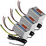 AZDelivery 3 x XH-W3001 Controlador Digital Temperatura LED, Mini Interruptor Termostato a Prueba de Agua, Pantalla Temperatura Ajustable, Sonda Temperatura NTC DC 12V 120W 10A con E-Book incluido