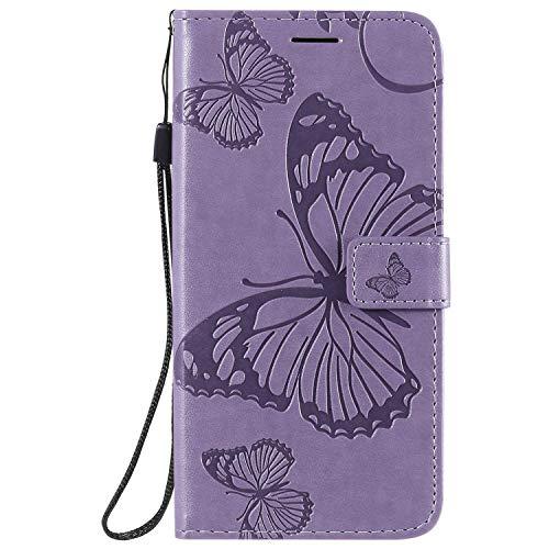 DENDICO Coque Nokia 2.3, Papillon Imprimé PU en Cuir Coque Magnétique Portefeuille TPU Étui Housse pour Nokia 2.3 - Violet