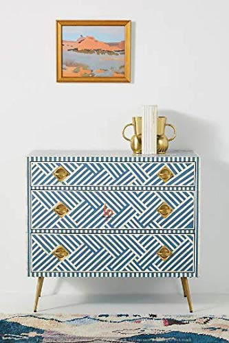 Fantastic Deal! hpcrations Bone Inlay Chest of 3 Drawers Beautifully Design in Blue Color Lines Inla...