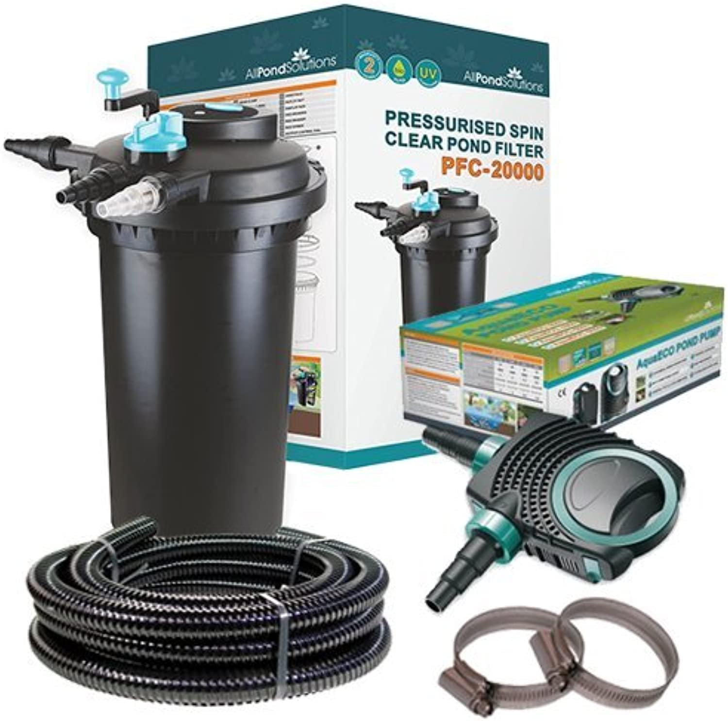 All Pond Solutions PFC20000 Koi Fish Pond Pressurised Pond Filter All in One