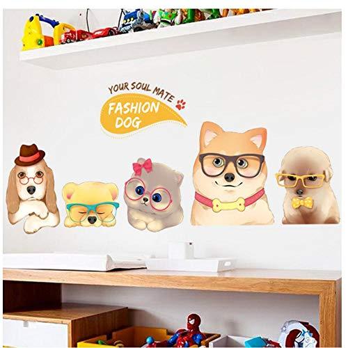 MINGKK Wandaufkleber Super süße Hunde Wandaufkleber dein Seelenverwandter Mode Hund Schlafzimmer Nachttisch Arbeitszimmer Kleiderschrank Wohnkultur Aufkleber selbstklebend
