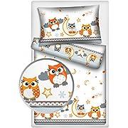 Kinderbettwäsche 2-tlg. 100% Baumwolle 40x60 + 100x135 cm mit Reißverschluss (Eule orange)