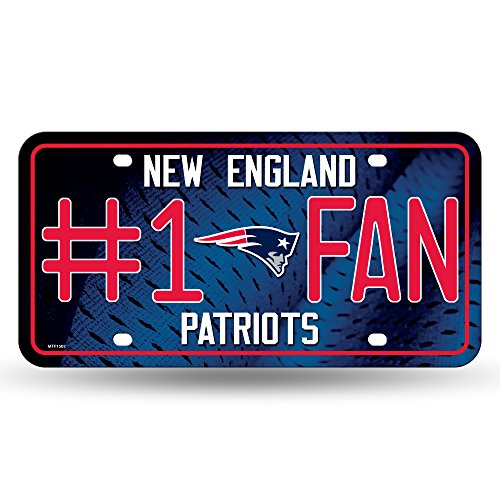 NFL Rico Industries #1 Fan Metal License Plate Tag, New England Patriots