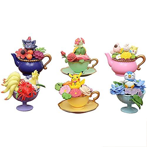 YYDS Anime Figure Pokémon Set of 6 PVC 8cm Kawaii Unique Fine Creative Teacups Cute Model Collection Ornaments Cars Desktop Office Decoration Birthday Surprises for Children Toy Gift