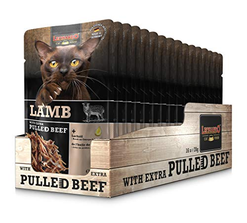 Leonardo Frischebeutel Lamb mit Fleischstreifen [Pulled Beef] 70g | Getreidefreies Nassfutter für Katzen | Alleinfuttermittel Katzenfutter