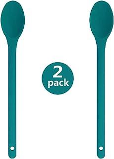 Verde + Rosso + Blu Hemoton Cucchiai da Miscelazione Antiaderenti in Silicone 3 Pezzi Cucchiai da Cucina Ad Alta Resistenza Al Calore Utensili da Cucina per Il Ristorante Dellhotel Domestico