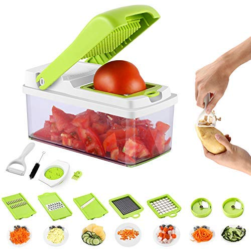 Mandoline Slicer Vegetable Chopper Dicer Cutter Peeler Cheese Grater Julienne Ribbon Spiralizer 8 Blades for Onion Potato with Cleaning Brush Hand Holder No Dishwasher