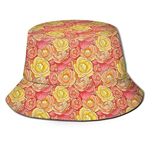 Algodón Packable Verano Viaje Cubo Playa Sol Sombrero Romántico Rosas Jardín Ilustración Naturaleza Inspirado Día de San Valentín Temático Sombrero