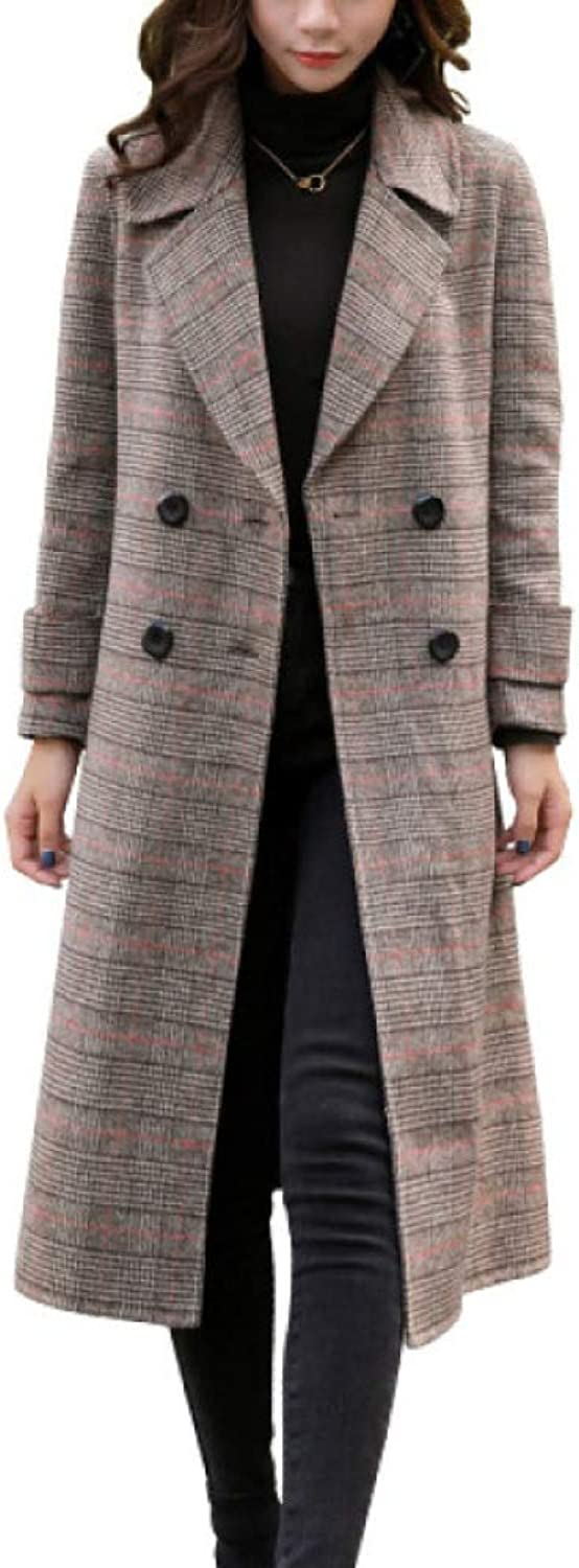 DFUCF Women's Woolen Coat Houndstooth Thicken Loose Long Pea Coat Winter