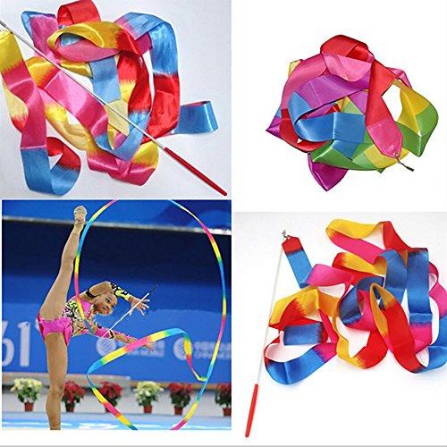 dfgh 4M Gym Dance Ribbon Rhythmic Art - Barra de gimnasia