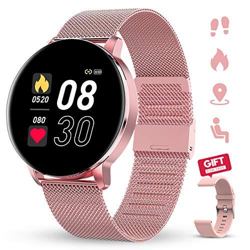 GOKOO Reloj Inteligente Mujeres Hombres con Android iOS Smartwatch Reloj 1.3 Pulgadas Pantalla Completa Táctil Reloj Deportivo Presión Arterial Frecuencia Cardíaca IP67 Impermeable Compatible (Rosa)