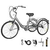 GNEGNIS Triciclo para Adultos con cestas, 7 Marchas, Bicicleta de Triciclo Plegable con Marco de aleación - Gris Plateado