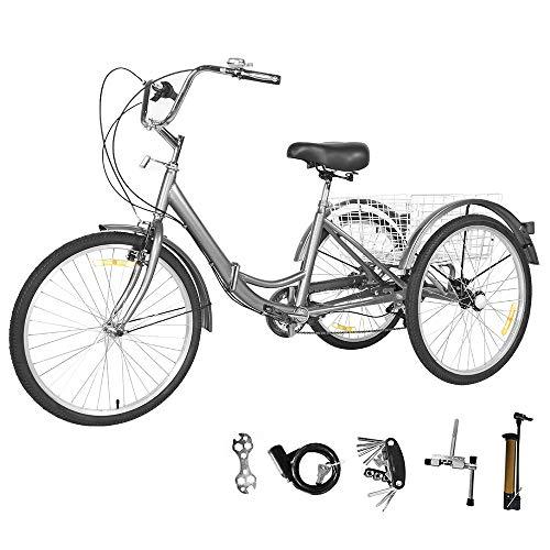 GNEGNIS Dreirad für Erwachsene 24 Zoll 7 Geschwindigkeit Gänge Aluminium Rahmen 3 Rad Fahrrad klappbar Trike Dreirad mit Einkaufskorb für Erwachsene und Senioren, Silbergrau