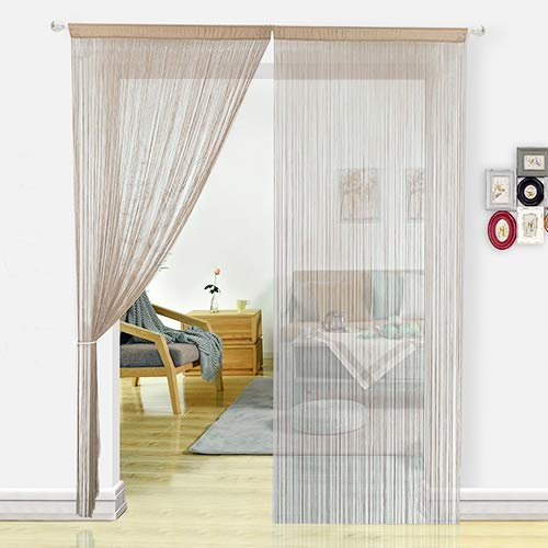 HSYLYM Cortina Espagueti para Puerta,Divisor de habitación,decoración del hogar,poliéster,Crudo,90x245cm