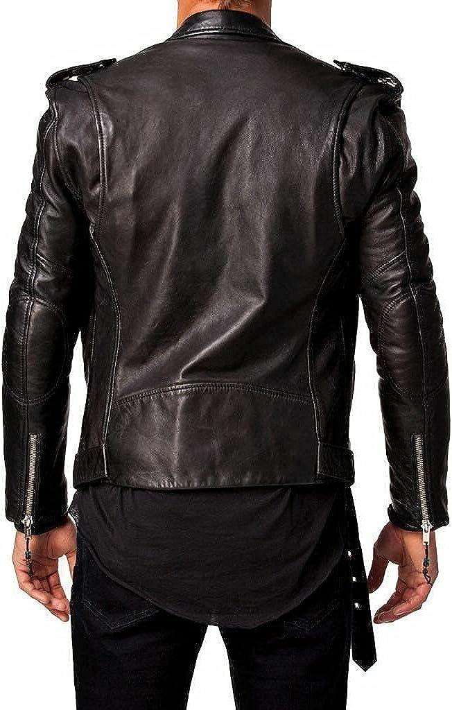 Mens Leather Jacket Motorcycle Black Slim fit Biker Genuine Lambskin Jacket