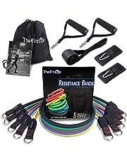 TheFitLife oefenbandenset, verbeterd design, met super grote en zachte handgrepen, enkelriem, deuranker voor hometraining, fitnessstudio, yoga