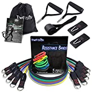 TheFitLife Exercise Resistance Bands with Handles - 5 Fitness Workout Bands Stackable up to 110 - 150 lbs, Training Tubes with Large Handles, Ankle Straps, Door Anchor Attachment, Carry Bag
