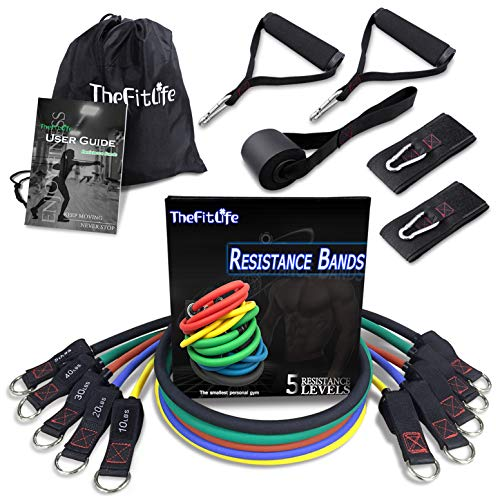 TheFitLife Exercise Resistance Bands with Handles - 5 Fitness Workout Bands Stackable up to 150 lbs, Training Tubes with Large Handles, Ankle Straps, Door Anchor Attachment, Carry Bag and Bonus eBook