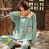 CIDCIJN Pijama para Mujer,Moda Invierno Damas Pijamas Conjunto Algodón Semáforo Collar Casual Pijamas Pijamas Pijama Ropa De Noche Manga Larga Loungewear Mujeres, Verde Claro, M
