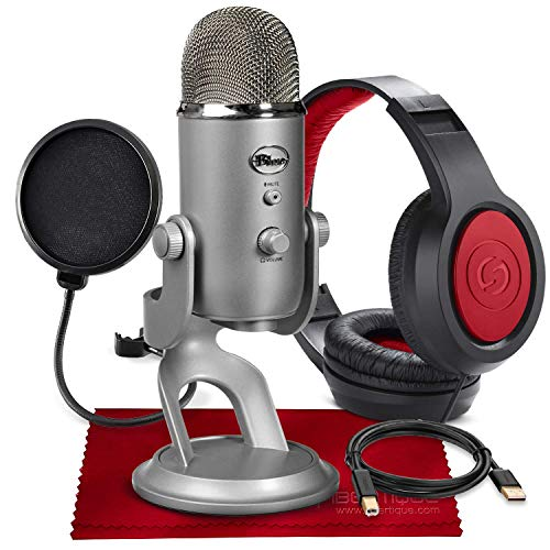 Blue Yeti USB Microphone (Silver) with Studio Headphones and Pop Filter Accessory Pack