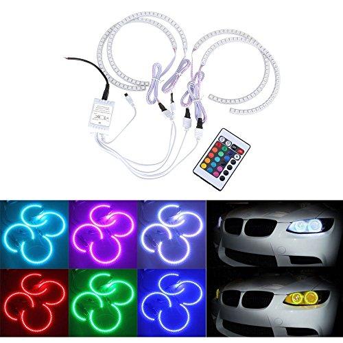 BoomBoost 4Pcs Luz del anillo del coche RGB LED mira el xenón de la linterna Multi-Color Ángel de ojos