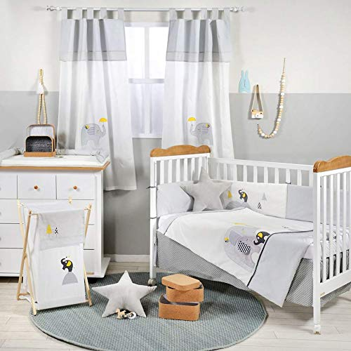 Amazing Deal Gray and Yellow Elephant Crib Bedding Set (4PC Bedding Set + 1 x Hamper)