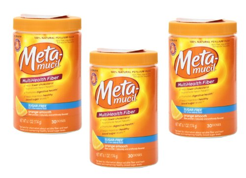 Meta-mucil Multihealth Fiber #1 Doctor Recommended Brand and 100% Natural Psyllium Husk Sugar Free Daily Fiber Supplement of Orange Smooth Fiber Powder and Naturally and Artificially Flavored- 3 Pack of 30 Doses or 6.1 Oz (90 Doses Total)