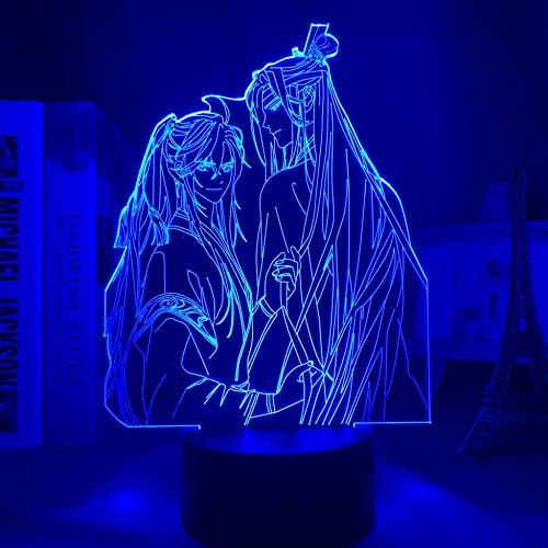 Lámpara de noche 3D Anime Illusion lámpara de acrílico 3D BL MO Dao a Shi lámpara para Bettraum Decoración Touch Sensor Multicolor LED Luz nocturna Mo Dao a Shi Lan Zhan MAOJIE